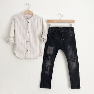 Zara Button Down Shirt Distressed Skinny Jean Sz 6